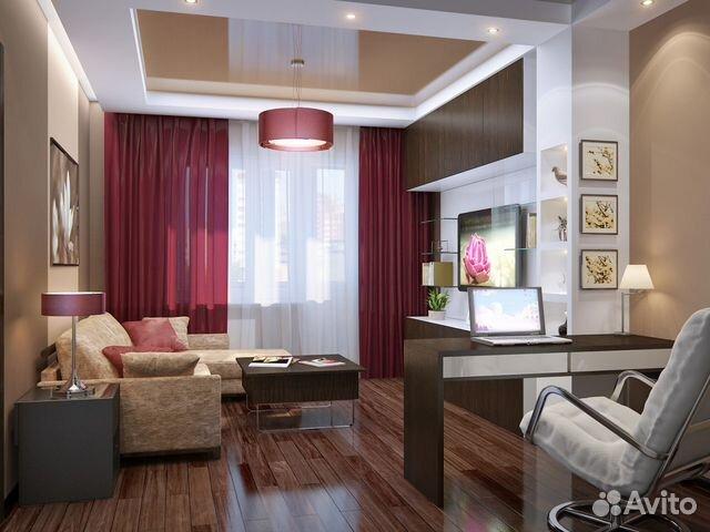 Дизайн кухни-гостиной с рабочей зоной
