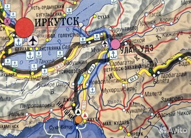 Карта транспорта России. Карта дорог России 89315780321 купить 2